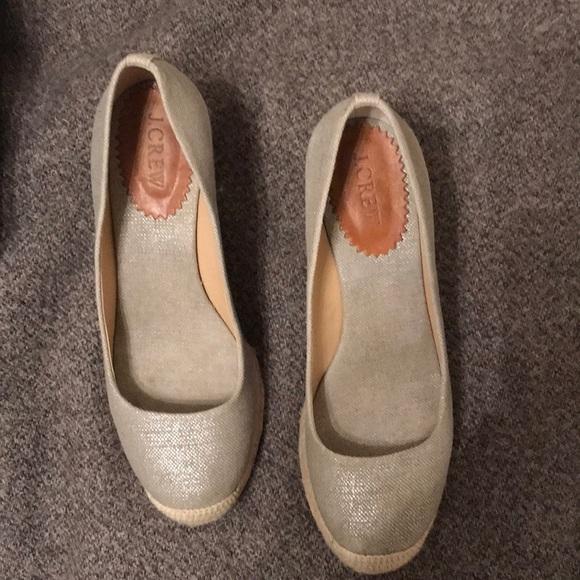 b6139459c185 J. Crew Shoes - J.Crew Seville Espadrille Wedges in Silver